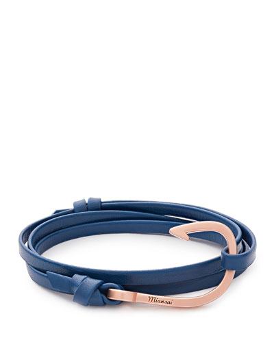 18K Rose Gold-Plated Hook Leather Bracelet, Blue