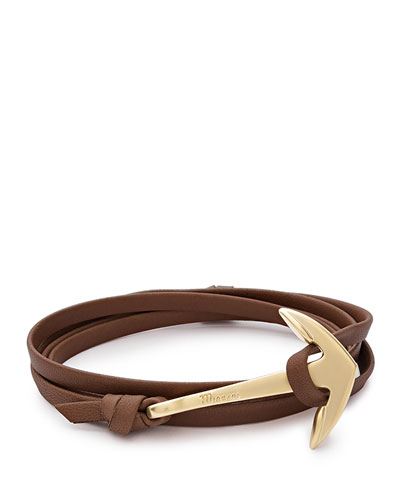 18K Gold-Plated Anchor Leather Bracelet, Brown