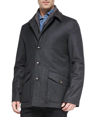 Wool-Cashmere-Silk Field Jacket