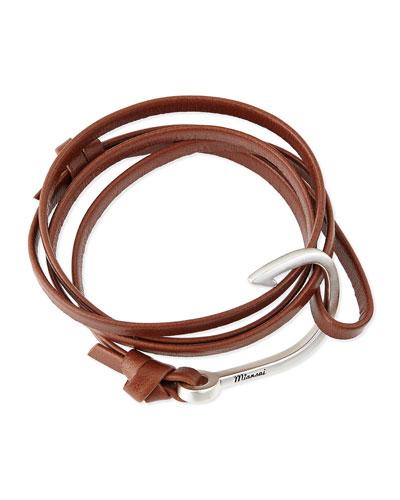 Hook Leather Bracelet, Brown