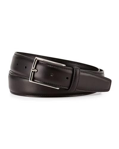 Leather Belt w/Polished Buckle, Black