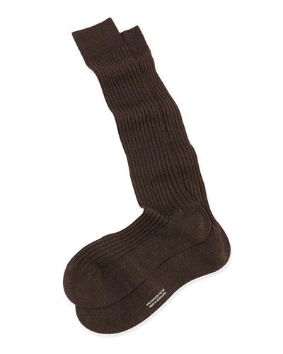 Over-the-Calf Ribbed Lisle Socks, Brown
