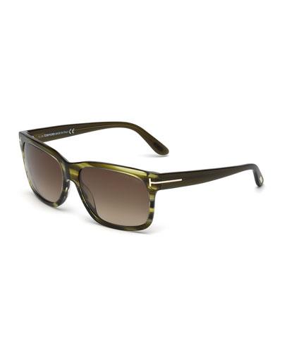 Barbara Rectangle Sunglasses, Green