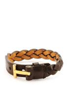 Nashville Men's Braided Leather Bracelet, Dark Brown