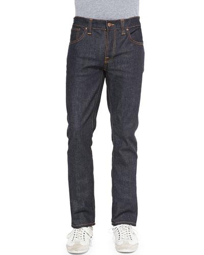 Grim Tim Straight-Leg Denim Jeans, Dark Blue