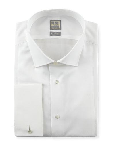 Textured Bib Tuxedo Shirt, White