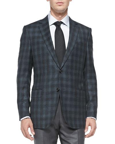 Plaid Wool Jacket, Petrol