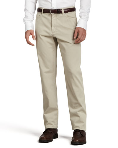 Five-Pocket Brushed Cotton Pants, Plaster