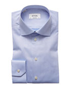 Solid Fine-Twill Dress Shirt, Light Blue