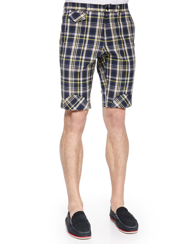 Plaid Shorts with Bias Patches