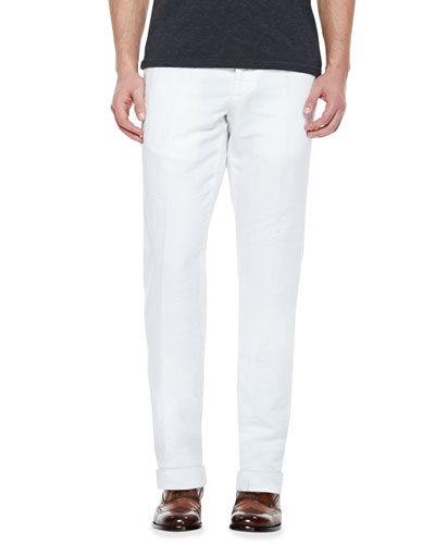 Chinolino Cotton/Linen Trousers, White