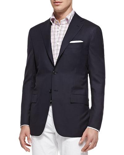 Three-Button Wool Blazer, Navy