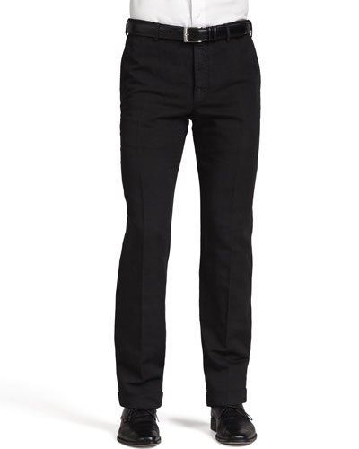 Chinolino Cotton/Linen Trousers, Black