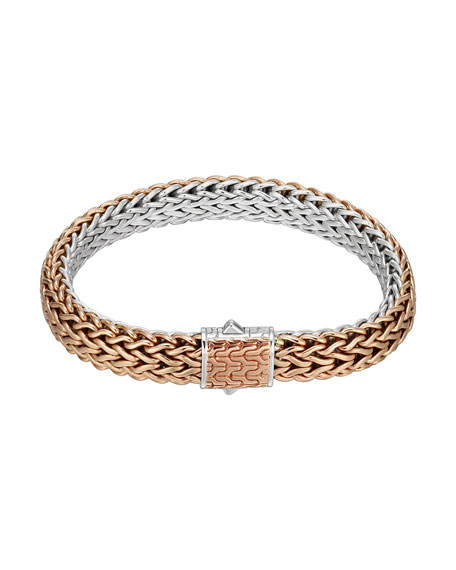 John Hardy Bronze/Silver Reversible Woven Chain Bracelet