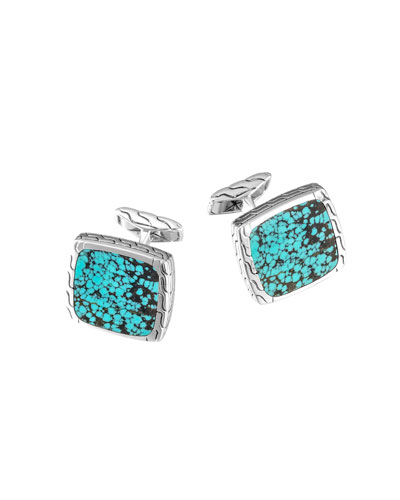 Turquoise Silver Square Cuff Links