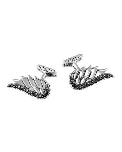 Lava Eagle Wing Silver Cuff Links