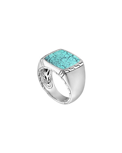 Silver & Turquoise Signet Ring