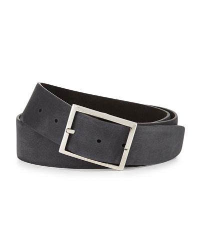 Reversible Suede Belt, Black/Gray