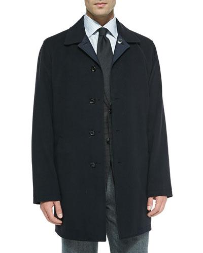 Reversible Singled-Breasted Overcoat, Navy