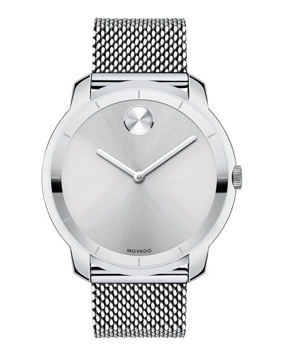 Stainless Steel And Silver Tone Sunray Dial Watch, 44Mm