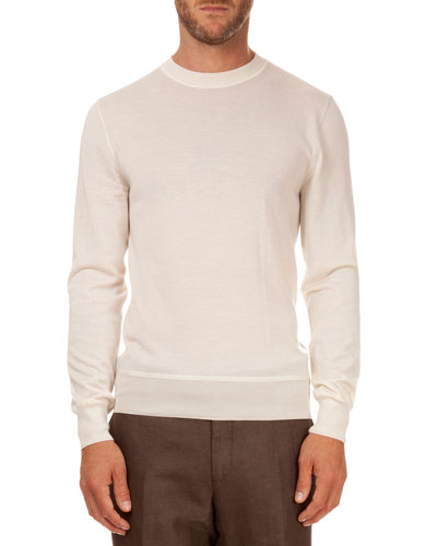 Cashmere/Silk Lightweight Sweater, Ivory