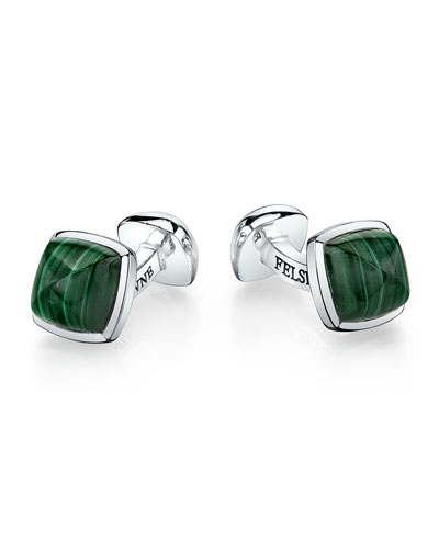 Sterling Silver Sugarloaf Cuff Links, Malachite