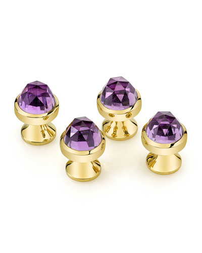 Rose-Cut Amethyst Stud Set
