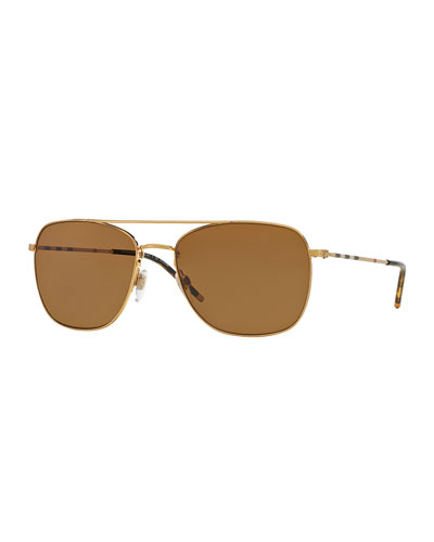 Check-Temple Aviator Sunglasses, Golden