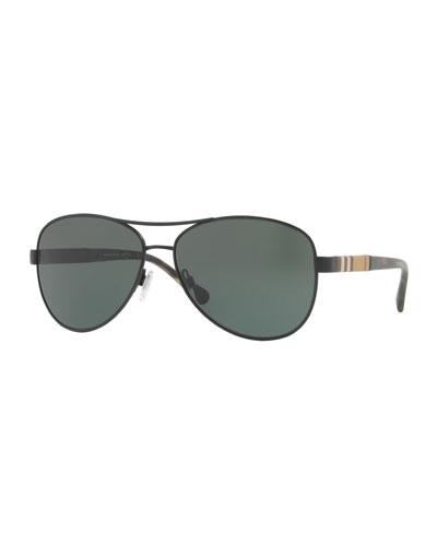 Check-Temple Aviator Sunglasses, Black