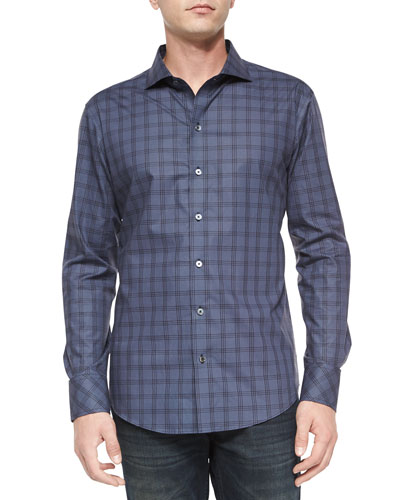 Tonal Windowpane Long-Sleeve Shirt, Navy