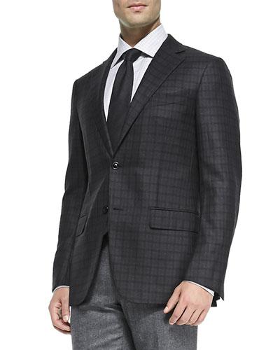 Check Wool Jacket, Charcoal/Burgundy