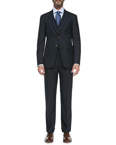 Check Three-Piece Suit, Navy