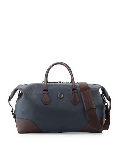 Chassis Leather Holdall Duffel Bag, Navy