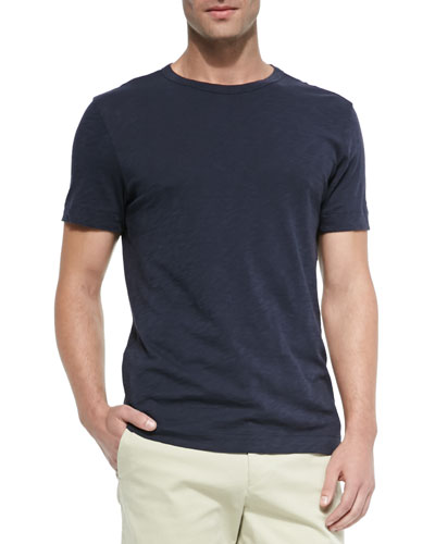 Slub Crewneck Short-Sleeve T-Shirt, Navy
