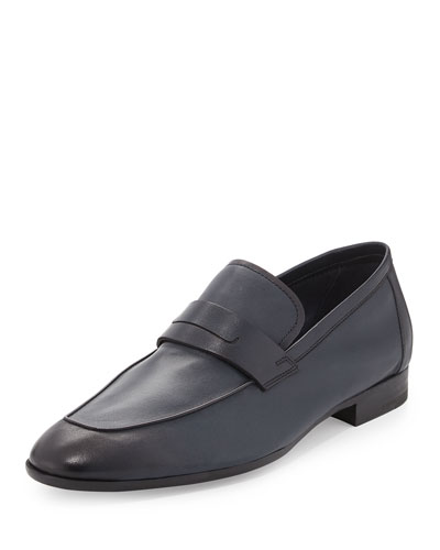 Lorenzo Unlined Leather Loafer, Navy