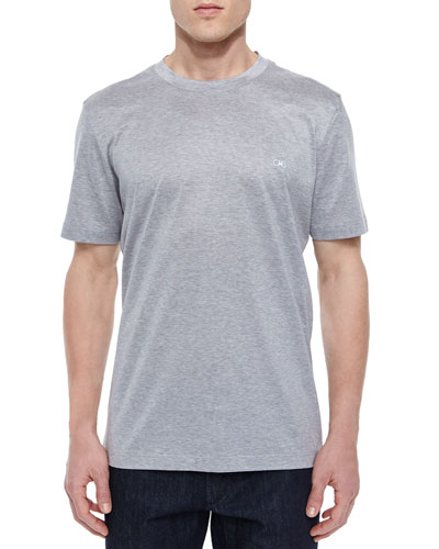 Gancini Woven Crewneck T-Shirt, Gray