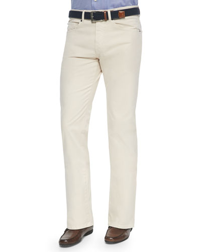 5-Pocket Stretch Twill Pants, Ivory