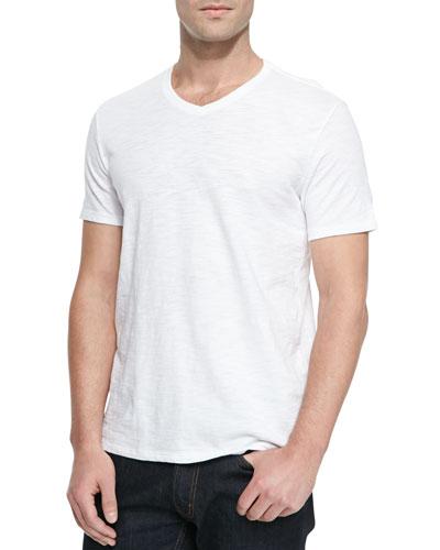 Basic Slub V-Neck T-Shirt, White