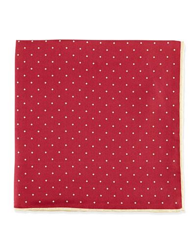 Dot-Print Pocket Square, Burgundy