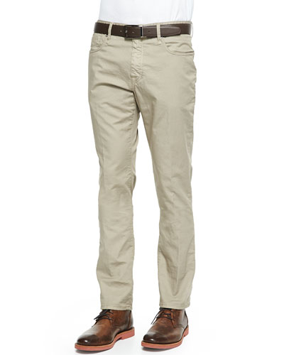 Washed  5-Pocket Cotton Stretch Pants, Khaki