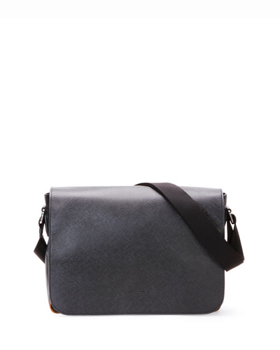 Saffiano Leather Messenger Bag, Black