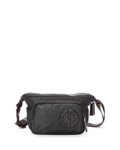 Nylon Belt Bag with Leather Trim