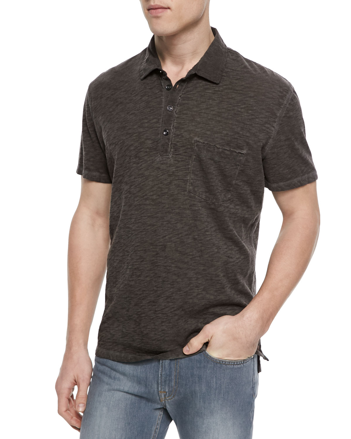 Raw Placket Short-Sleeve Polo Shirt, Gray