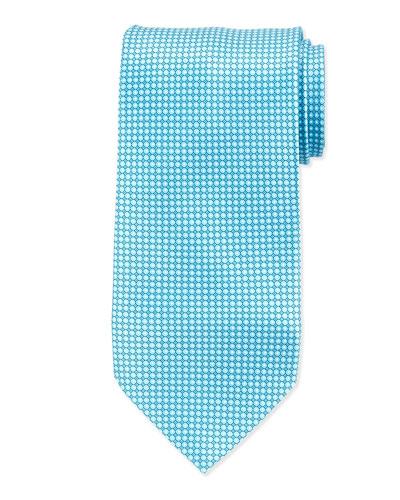 Micro-Dot Neat Silk Tie, Aqua