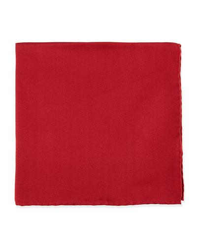 Silk Pocket Square, Cranberry