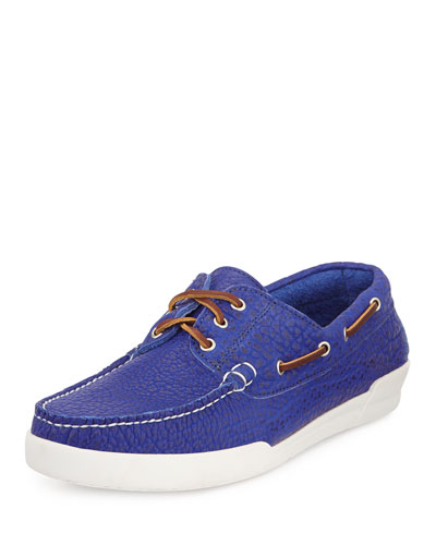 Men's USA Bison Boat Shoe, Royal Blue