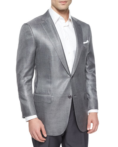 Wool-Blend Two-Button Blazer, Gray