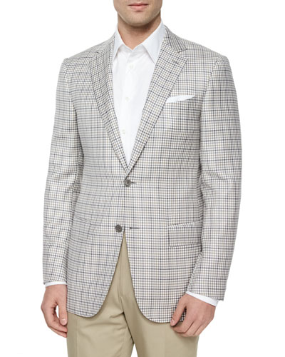 Check Two-Button Wool Jacket, Cream/Gray/Tan