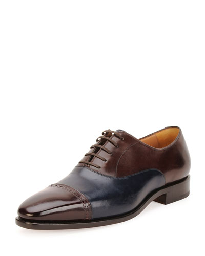 Norman Tramezza Calfskin Spectator Shoe, Brown/Navy/Bordeaux