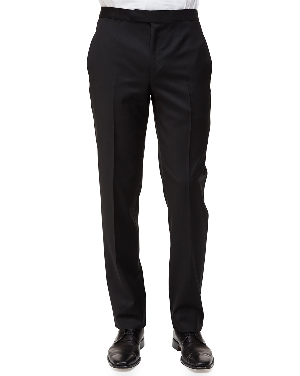 Satin-Taped Formal Wool Trousers